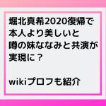 堀北真希2020復帰で本人より美しいと噂の妹ななみと共演が実現か?wikiも紹介