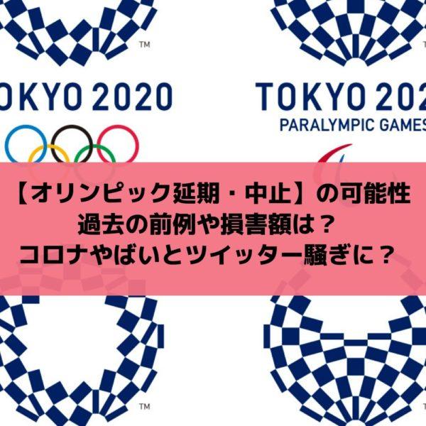 オリンピック延期の可能性|過去の前例や損害額は?コロナで中止にすべきとツイッター騒ぎ?